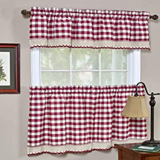 bed bath n more Classic Buffalo Check Kitchen Burgundy and White Curtain Set or Separates Burgundy/White Tier pair 58 x 36
