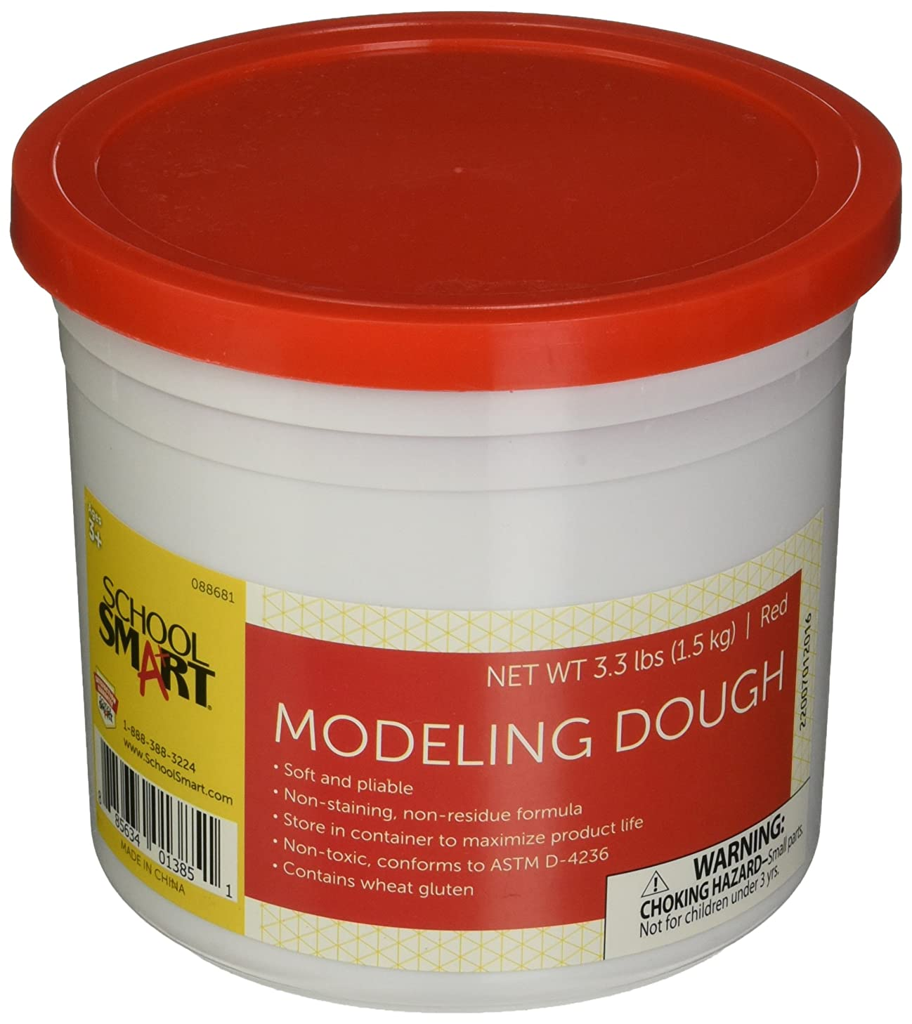 School Smart Non Toxic Modeling Dough - 3 1/3 pounds - Red