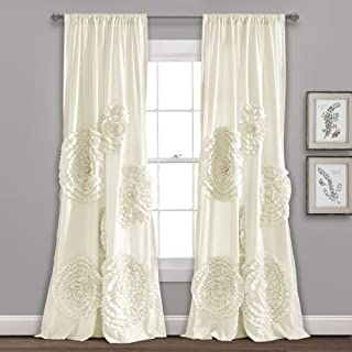 "Lush Decor Serena Window Panel for Living, Dining Room, Bedroom (Single Curtain), 84"" x 54"", Ivory"