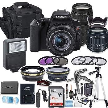 Canon EOS Rebel SL3 DSLR Camera Bundle with Canon EF-S 18-55mm STM Lens & EF 75-300mm III Lens + 32GB Sandisk Memory + Camera Case + Digital Flash + Accessory Bundle