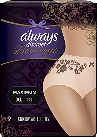 Always Discreet Boutique Incontinence Underwear Maximum Protection XL - 9 Disposable Incontinence Protective Underwear - Peach