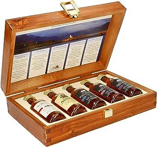 Pràban na Linne Whisky Probier- und Geschenkset 5 x 0.05 l: 5 x 50 ml in hochwertiger Holzkiste | Té Bheag, MacNaMara, Poit Dhubh 8, Poit Dhubh 12, Poit Dhubh 21 | Whisky Geschenkset & Probierset