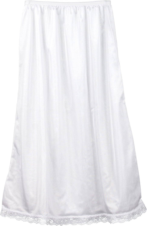 I.C. Collections Big Girls White Nylon Half Slip - Tea Length, 7-14