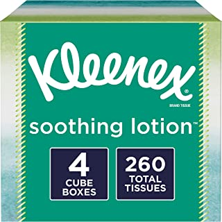 Kleenex Soothing Lotion Facial Tissues with Aloe & Vitamin E, 4 Cube Boxes, 65 Tissues per Box, 4 Pack (260 Tissues Total)