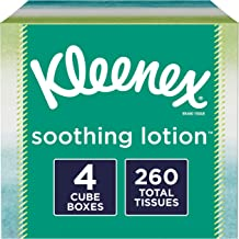Kleenex Soothing Lotion Facial Tissues with Aloe & Vitamin E, 4 Cube Boxes, 65 Tissues per Box (260 Tissues Total)