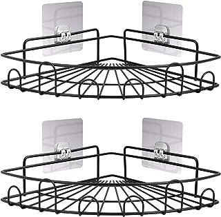FiGoal 2パック コーナーシャワーキャディ シャワー吊り下げオーガナイザー ステンレススチール バスルーム棚 壁取り付け 強力な粘着 (ドリル不要) ストレージラック (スチール)