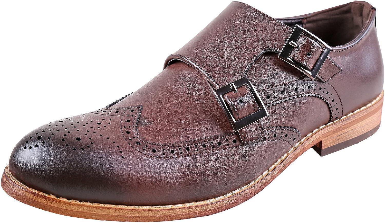 Urban Fox Allen Men's Dress Shoe   Double Monk Strap   Brogue   Wingtip Shoes for Men