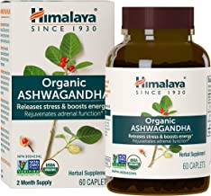 Himalaya Organic Ashwagandha 670 mg 60 Caplets, Equivalent to 4630mg of Ashwagandha Root Powder, 2 Month Supply of Anxiety...