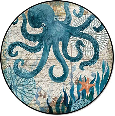 Round Area Rugs, Watercolor Sea Octopus Indoor Entryway Doormat Throw Runner Rug Floor Carpet Pad Yoga Mat for Living Room Bedroom Ocean Animal Sea Creature 4 Feet