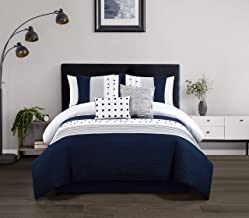 Chic Home Lainy 5 Piece Comforter Set Color Block Pleated Ribbed Embroidered Design Bedding - Decorative Pillows Shams Inc...