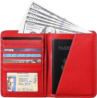 RFID Blocking Passport Holder Travel Wallet - Genuine Crazy Horse Leather - Red - Free