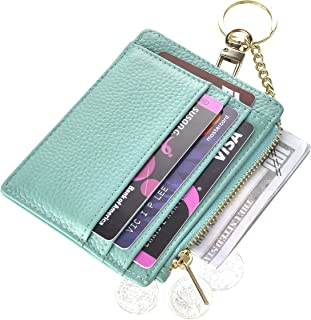 Womens Slim RFID Credit Card Holder Mini Front Pocket Wallet Coin Purse Keychain, LicheeTeal, small, Classic