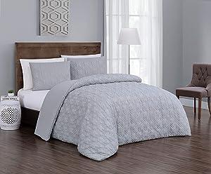 Geneva Home Fashion Jess Comforter Set, Queen, Light Grey