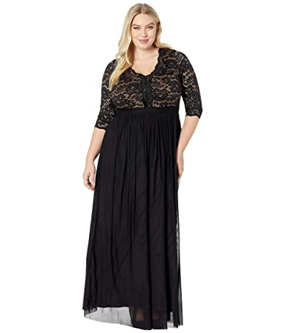 Kiyonna Jasmine Lace Evening Gown (Onyx) Women