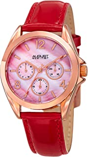 August Steiner Women's Silver-Tone Dial Leather Band Watch - AS8191RD