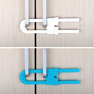 قفل منزلق للسلامة على شكل حرف يو لمنع الاطفال من فتح الخزائن والادراج والمطبخ والحمام والخزانة من 10 قطع لون ابيض وازرق