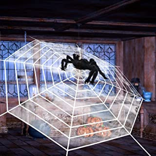 12 FT Giant Round Spider Web and Fake Large Hairy Spider Props, Halloween Decor Spider Net for Indoor Outdoor Yard Home Co...