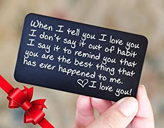 Wallet Card Love Note | Husband Gifts from Wife, Aluminum Anniversary Gifts for Husband | Engraved Boyfriend Gift Idea | Valentines Day | Meaningful & Romantic Mini Wallet Insert for Men, LDR