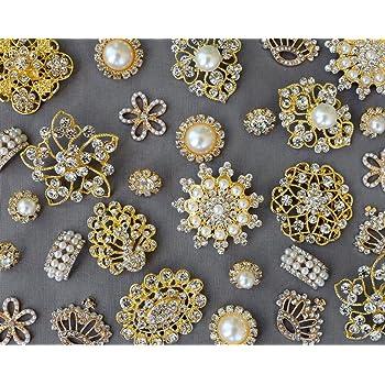 20 Gold Assorted Rhinestone Button Brooch Embellishment Pearl Crystal Wedding Brooch Bouquet Cake Hair Comb Clip BT986
