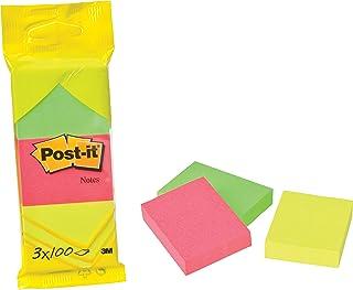 Post-it Notes 38 x 51 mm 100 feuilles Coloris Neon jaune/rose/vert