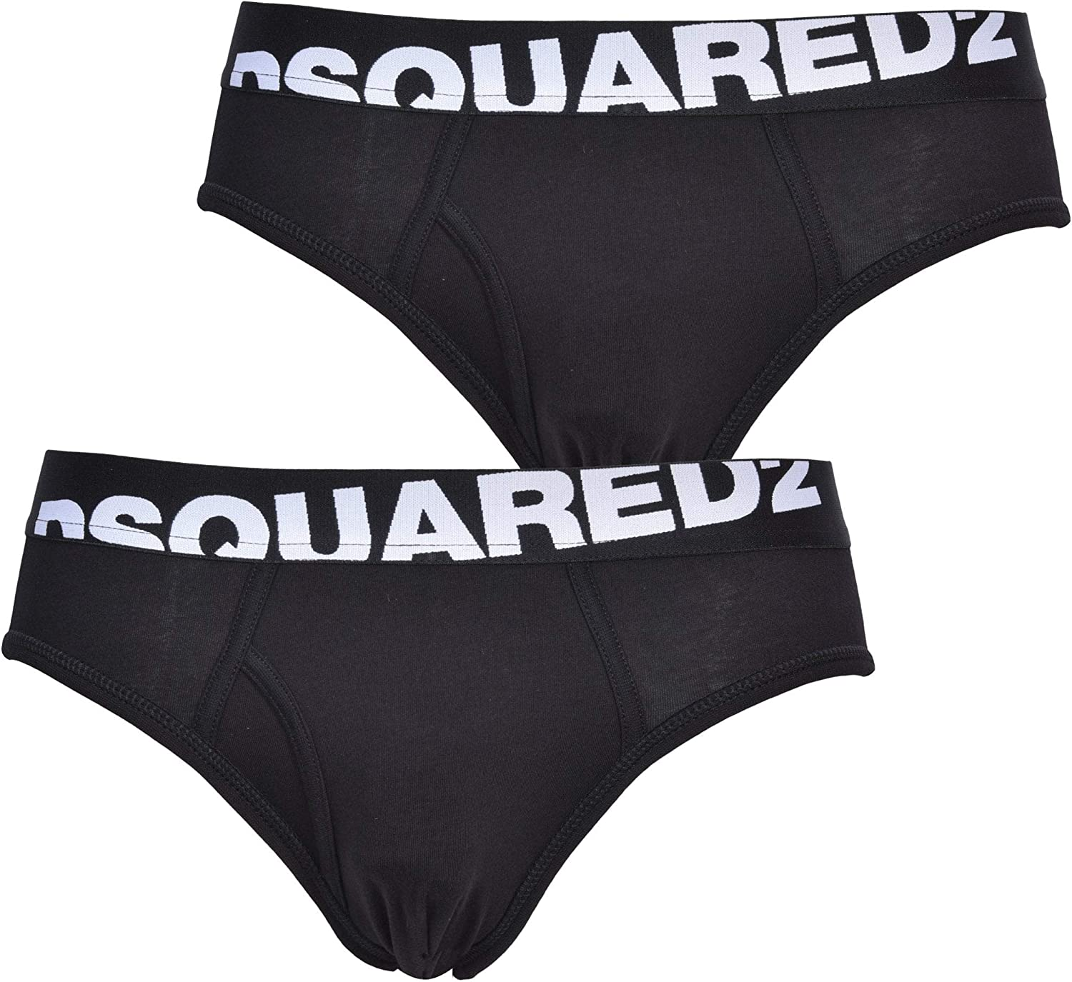 DSQUARED2 2-Pack Angled Logo Low-Rise Men's Briefs, White