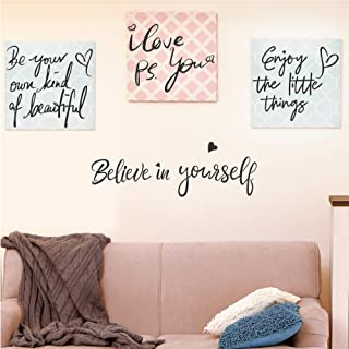 4 Set-Believe in Yourself-Be Your Own Kind of Beautiful-Enjoy the Little Things-PS. I Love You-Inspirational Quotes Wall D...