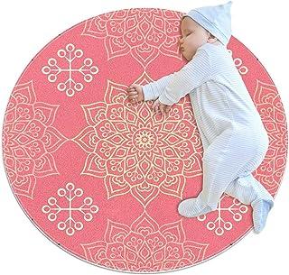 Rosa blommig, barn rund matta polyester överkast matta mjuk pedagogisk tvättbar matta barnkammare tipi tält lekmatta