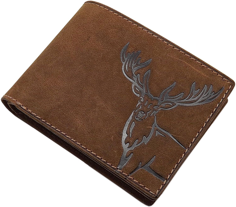 Cuero de búfalo Monedero con Ciervo-Motivo en Formato Vertical o Formato oblongo con Bloqueo RFID y NFC en marrón (Modelo 2 / Formato oblongo)