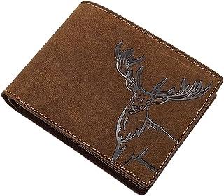 Pelle die bufalo portafoglio con cervo motivo in formato verticale o formato orizzontale in marrone (Modello 2 / Formato o...