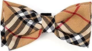 The Worthy Dog Tan Plaid Bow Tie Comfortable Cotton Bow Tie Cute Dog Accessories Fit Small Medium and Large Dogs-Tan