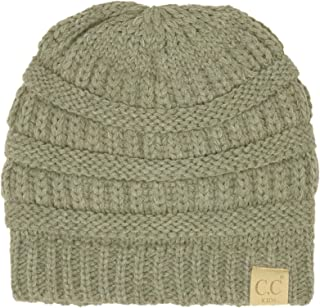 CC Kids Fuzzy Thick Lined Ages 2 to 5 Soft Stretchy Knit Chunky Beanie Cap Hat (Solid Lt. Melange Gray)