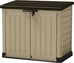 Keter 226814 Store-It-Out MAX 4.8 x 2.7 Outdoor Resin Horizontal Storage Shed, 42 cu.ft, Beige/Brown