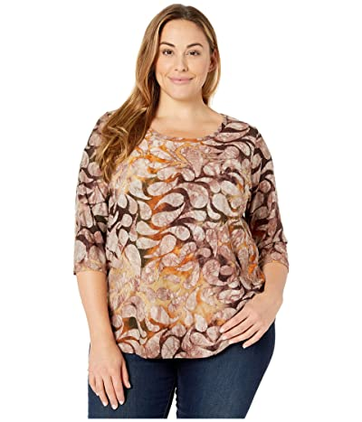 Karen Kane Plus Plus Size Tie-Dye Burnout Shirttail Tee (Tie-Dye) Women
