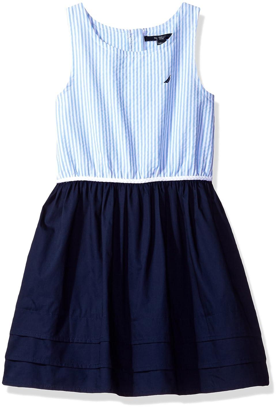 Nautica Girls' Stripe Oxford Bodice Dress with Jersey Skirt Pleated Hem