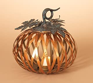 One Holiday Way Metal Harvest Pumpkin Candle Holder with Metallic Copper Finish - Tabletop Fall Candle Holder Decoration