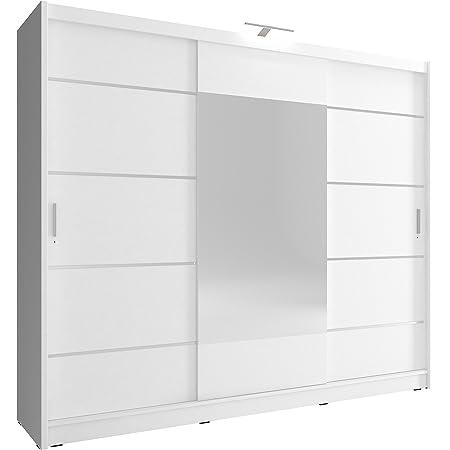 MEUBLO Armoire de Chambre avec 3 Portes coulissantes | Armoire avec Miroir | Penderie (Tringle) avec étagères + LED | Style Contemporain (L x H x P): 250x214x62 Borneo 250 ALU (Blanc)