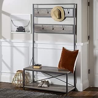 WE Furniture Farmhouse Entry Bench Mudroom Hall Tree Storage Shelf Coat Rack, 72 Inch, Gray Wash