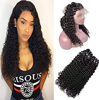 IWISH Brazilian Deep Wave 2 Bundles With 360 Frontal Lace Closure 8A Unprocessed Curly Hair 2 Bundles Virgin Human Hair Extension With Free Part 360 Lace Frontal Closure (16 18+16, Deep+360 Frontal)