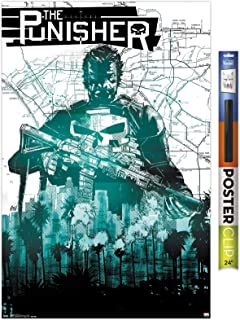 """Trends International Marvel Comics - The Punisher - Map Wall Poster, 22.375"""" x 34"""", Premium Poster & Clip Bundle"""