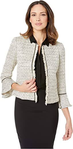 Boucle Open Jacket with Tulip Sleeve