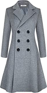 Women's Winter Dress Coats Wool Blend Double Breasted Long Peacoat