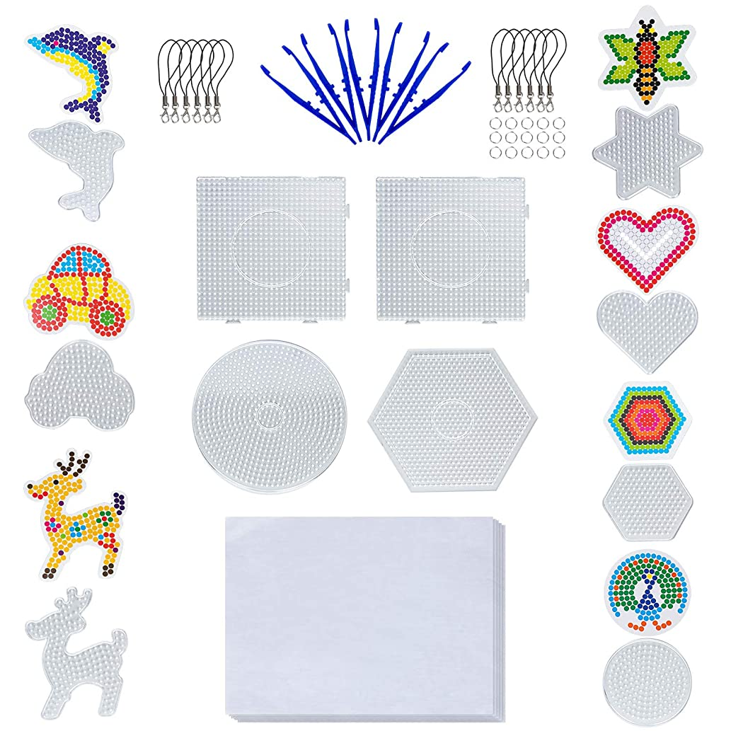 Hakkin 11 Pcs Boards- 5mm 4 Pieces Fuse Beads Boards Large Clear Plastic Pegboards Kits, and 7 Pcs Other Shapes Small Beads Boards for Kids Craft DIY Small Components