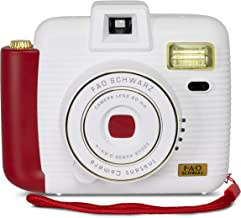 FAO Schwarz Instant Camera with Flash and 5 Lighting Modes, Compatible with Instant Mini Film, Instantly Prints Photos, Takes Pictures Indoors or Outdoors, White and Red