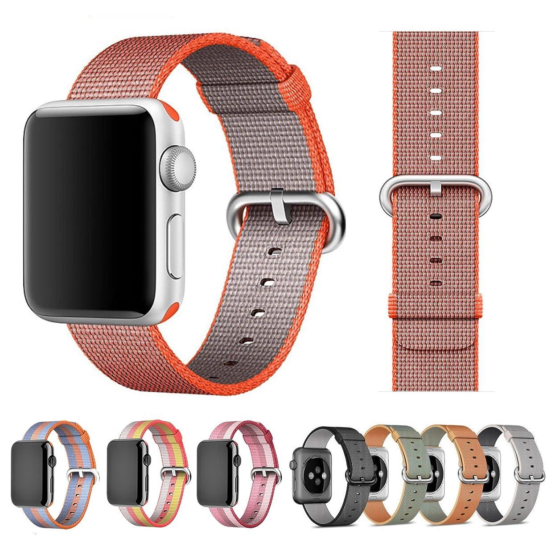 ボット郵便学士【万屋】Apple Watch ナイロンバンド 全38色 Apple Watch Series 3/Series 2/Series 1 に向け人気交換ベルト 38mm & 42mm 対応 4層ナイロン素材編み ファッション交換バンド Apple Watch 全てシリーズ対応 (Apple Watch 42mm, 15#)