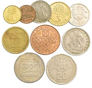 10 Old Coins from Portugal. Collectible Coins Portuguese ESCUDOS CENTAVOS 1969-2001. Perfect Choice for Your Coin Bank, Coin Holders and Coin Album