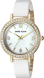 Anne Klein Women's AK/2348WTDB Swarovski Crystal Accented Gold-Tone and White Ceramic Bangle Watch