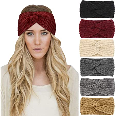 Xinstroe 2 Pcs Confetti Winter Cable Headband Thick Knit Head Wrap Ear Warmer Headband For Girls Ladies