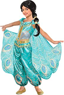Party City Aladdin Jasmine Whole New World Costume for Children, Features a Peacock Jumpsuit with a Cape