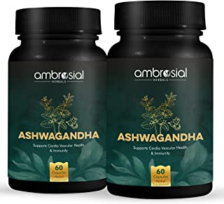 Ambrosial Ashwagandha 500 mg | Manage Anxiety & Stress Relief | Energy & Endurance| Immune Support -60 Capsules | 100% VEG