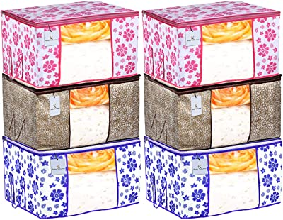 Heart Home Metalic & Flower Printed 6 Piece Non Woven Fabric Underbed Storage Bag, Cloth Organiser, Blanket Cover with Transparent Window, Golden Brown & Pink & Blue - HEART5674